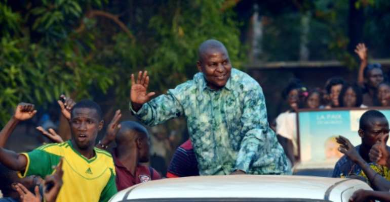 Central African presidential candidate Faustin Archange Touadera, pictured on December 28, 2015, garnered 23% of votes with a quarter of the ballots counted.  By Issouf Sanogo (AFP/File)