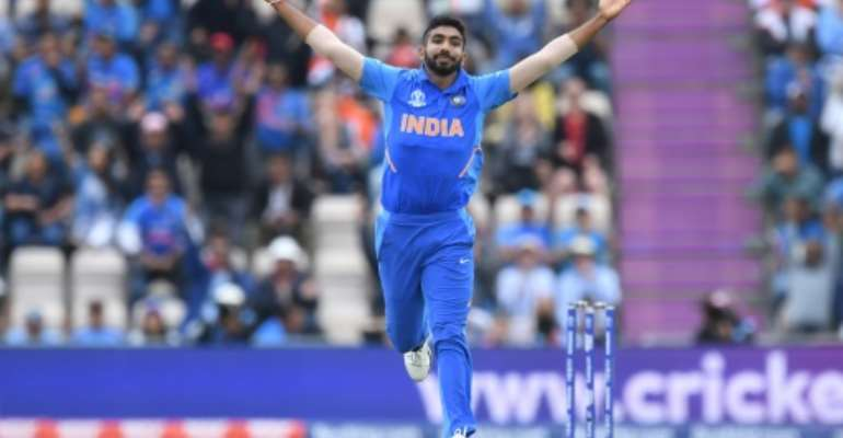 India's Jasprit Bumrah celebrates after dismissing South Africa's Hashim Amla in their World Cup match in Southampton.  By Dibyangshu SARKAR (AFP)