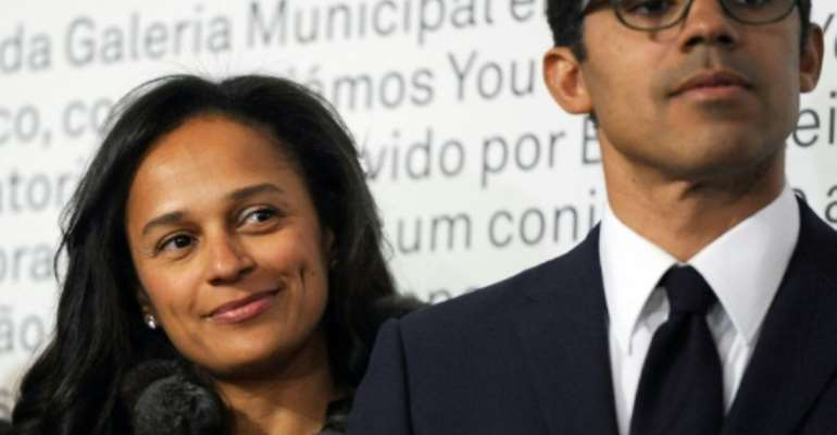 Isabel dos Santos and husband Sindika Dokolo, pictured at an art exhibition in Portugal in 2014.  By FERNANDO VELUDO (PUBLICO/AFP)