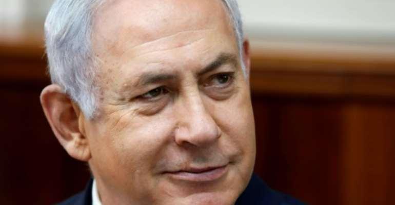 Israeli Prime Minister Benjamin Netanyahu visited Nairobi for celebrations as Kenyan President Uhuru Kenyatta was sworn on November 28, 2017.  By GALI TIBBON (POOL/AFP/File)