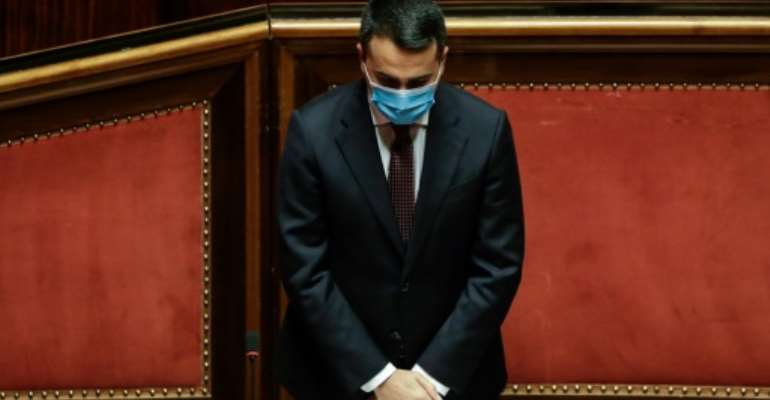 Italian Foreign Minister Luigi Di Maio observed a minute's silence during an address to the Senate in Rome on Wednesday.  By Andrew Medichini (POOL/AFP)