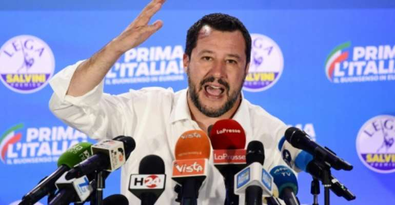 Italian Interior Minister Matteo Salvini has seen his popularity soar in the last year with a hard line against migrants which has included closing ports to rescue vessels.  By Miguel MEDINA (AFP/File)