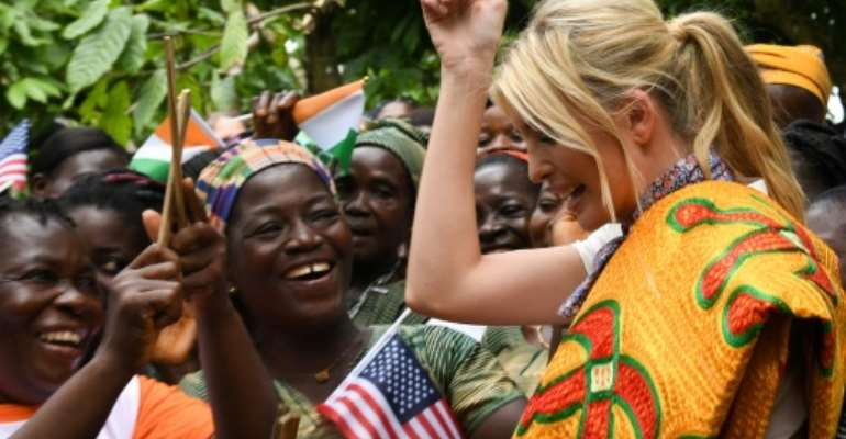 Ivanka Trump (R) unveiled financial aid for woman cocoa farmers ahead of a West African summit on women entrepreneurs in Ivory Coast.  By ISSOUF SANOGO (AFP)