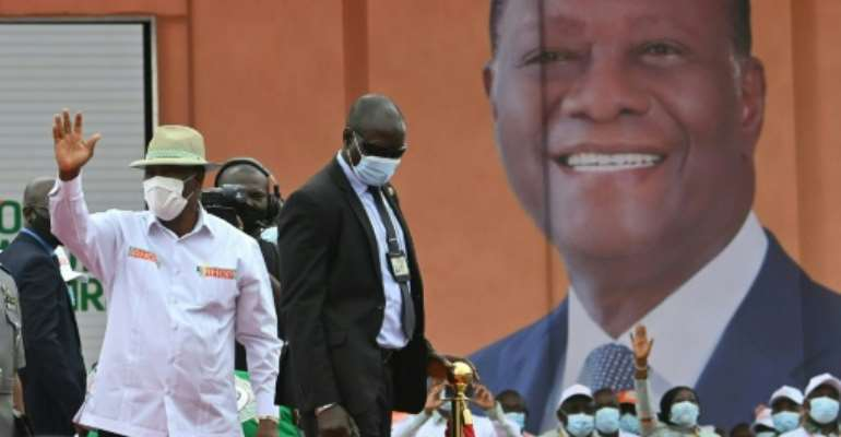 Ivory Coast President Alassane Ouattara was nominated by his party to run for president in October.  By Issouf SANOGO (AFP/File)