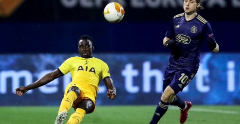 Ivory Coast star Serge Aurier (L) playing for Tottenham Hotspur against Dinamo Zagreb this month in the Europa League..  By Damir SENCAR (AFP)