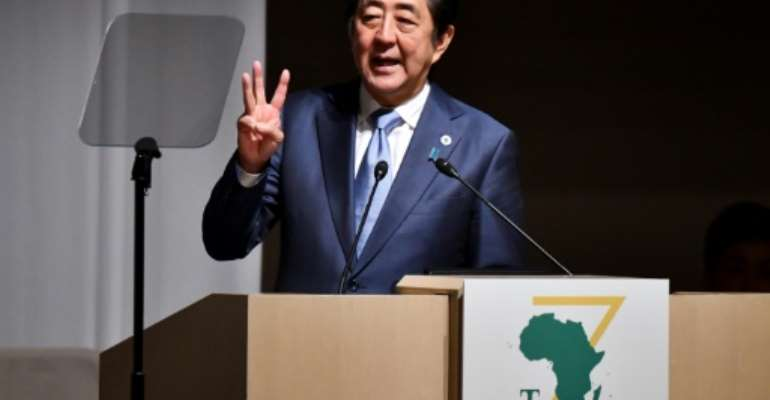 Japan's Prime Minister Shinzo Abe has cautioned African countries about taking on too much debt.  By TOSHIFUMI KITAMURA (AFP)