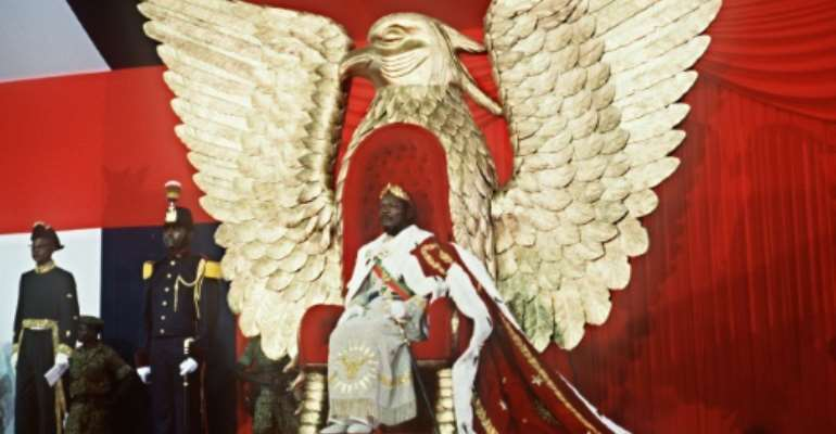 Jean-Bedel Bokassa crowned himself emperor in 1977 and said he showered the Giscard family with diamonds.  By PIERRE GUILLAUD (AFP/File)