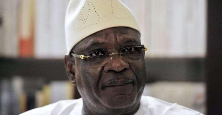 Ibrahim Boubacar Keita speaks in an interview in Bamako on August 9, 2013.  By Issouf Sanogo (AFP/File)