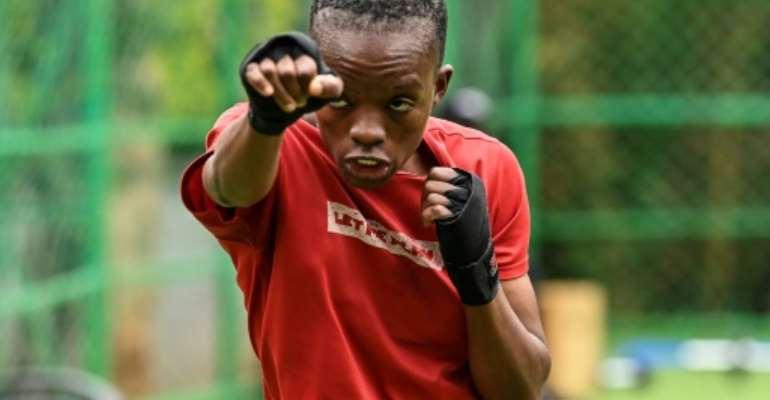 Kenyan boxer Christine Ongare trains ahead of the Tokyo Olympics.  By SIMON MAINA (AFP)