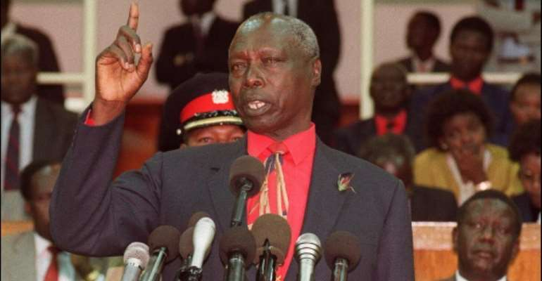 Kenyan ex-president Daniel Arap Moi has been fined for land grabbing.  By ALEXANDER JOE (AFP)