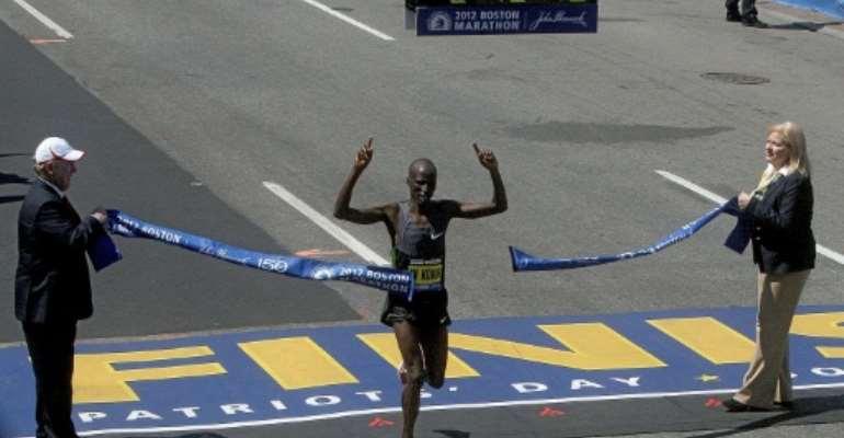 Wesley Korir of Kenya wins the men's 116th Boston Marathon in 2012.  By Jim Rogash (Getty/AFP/File)
