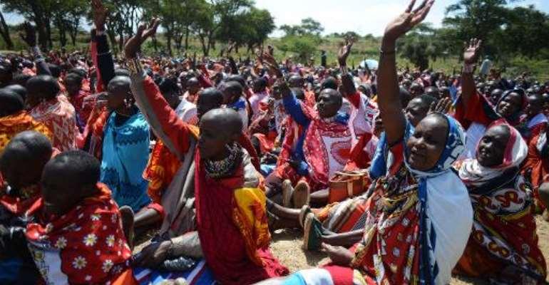 Kenyan Maasai women gather for a meeting dedicated to the practice of female genital mutilation.  By Simon Maina (AFP/File)