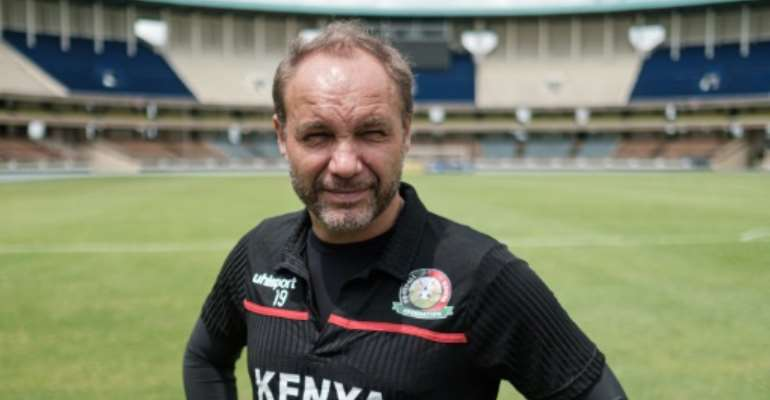 Kenya's French head coach Sebastien Migne is taking to the team to France for a 'boot camp' in preparation for the 2019 Africa Cup of Nationsin Egypt from June 21..  By Yasuyoshi CHIBA (AFP)