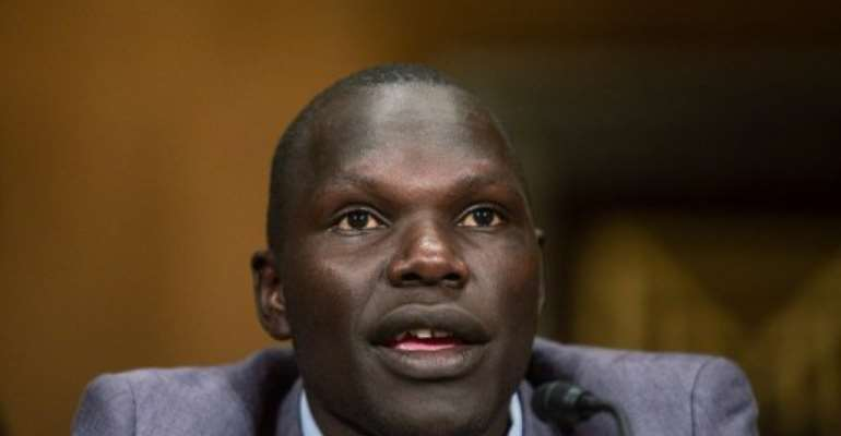 Jacob Acaye, a former LRA abductee whose story was highlighted in the recent KONY 2012 video.  By Brendan Hoffman (AFP/Getty Images)