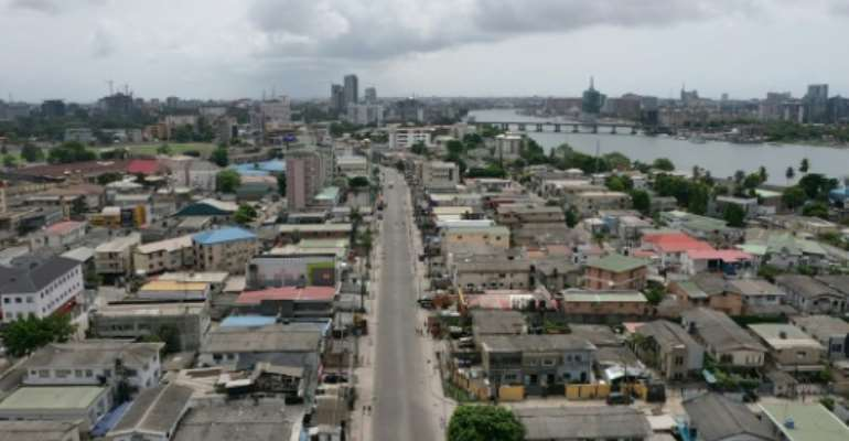 Lagos under lockdown: The pandemic will have a devastating effect on African growth this year, says the World Bank.  By Pierre FAVENNEC (AFP)