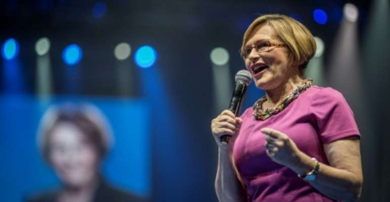 Leader of South Africa's largest opposition party Democratic Alliance (DA) Helen Zille addresses a campaign rally in Johannesburg on May 3, 2014.  By MARCO LONGARI (AFP/File)