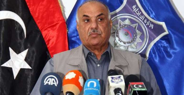 Libya's interim interior minister Salah Mazek holds a press conference on May 10, 2014 in the Libyan capital Tripoli.  By Mahmud Turkia (AFP)