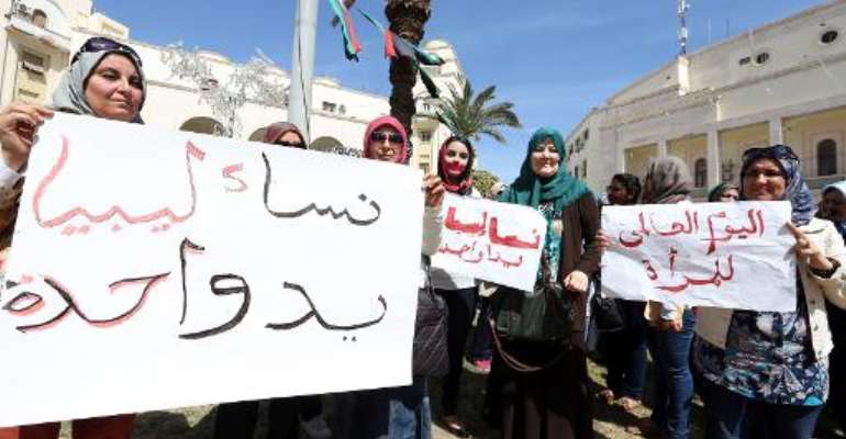 Libyan women gather during the celebration of International Women's Day in Tripoli on March 9, 2013.  By Mahmud Turkia (AFP/File)