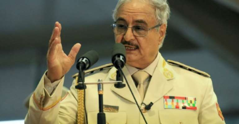 Libyan military leader Khalifa Haftar has ordered his forces to advance on Tripoli, seat of the internationally-recognised unity government.  By Abdullah DOMA (AFP/File)