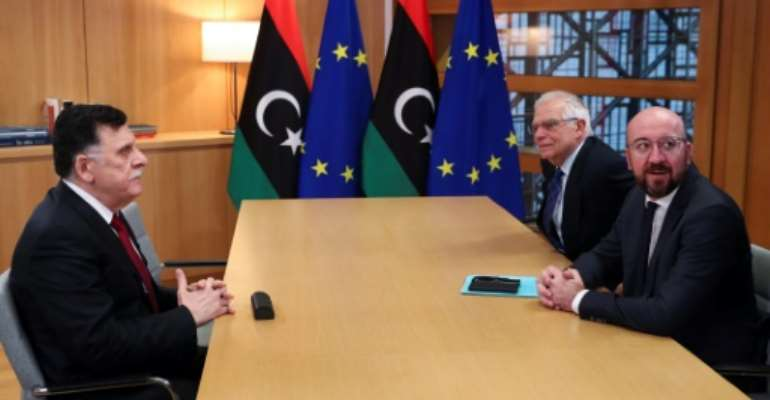 Libyan Prime Minister Fayez Al-Sarraj met with European Council President Charles Michel (R) and EU foreign policy chief Josep Borrell (C) with Borrell warning Libya is facing a