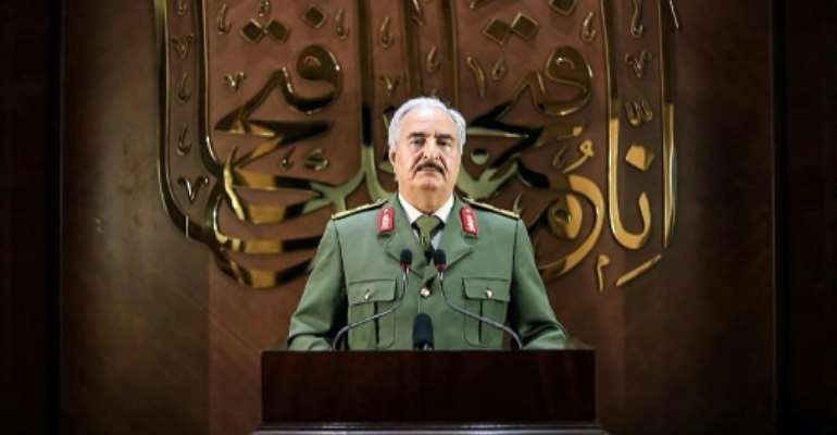 Libyan strongman Khalifa Haftar has announced he has a popular mandate to rule the divided country.  By - (LNA War Information Division/AFP)