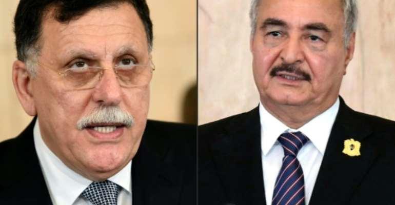 Libya's conflict pits UN-recognised premier  Fayez al-Sarraj against military commander Khalifa Haftar.  By FETHI BELAID, HO (AFP/File)