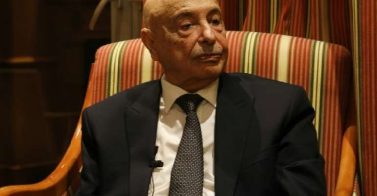 Libya's parliament speaker Aguila Saleh visited Cyprus at a time of rising tensions in the Mediterranean.  By Christina ASSI (AFP)