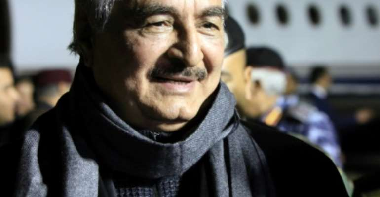 Libya's power struggle pits an administration based in eastern Libya, backed by military strongman Khalifa Haftar (pictured), against a UN-brokered unity government in Tripoli.  By Abdullah DOMA (AFP/File)