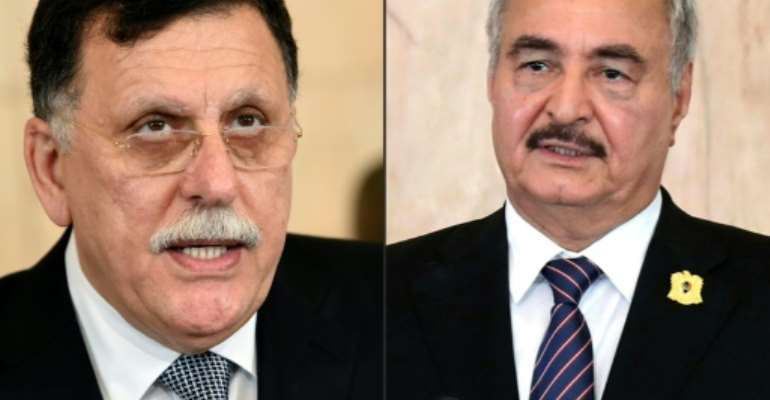 Libya's UN-recognised Prime Minister Fayez al-Sarraj (left) and General Khalifa Haftar (right) have agreed to a ceasefire urged by Moscow and Ankara.  By FETHI BELAID, HO (AFP/File)