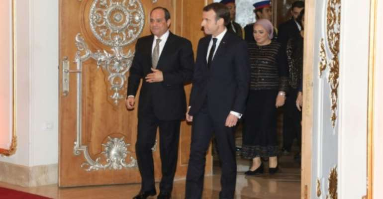 Macron visited Egypt in January, pressing Sisi on his rights record and urging him to respect freedoms.  By Ludovic MARIN (AFP/File)