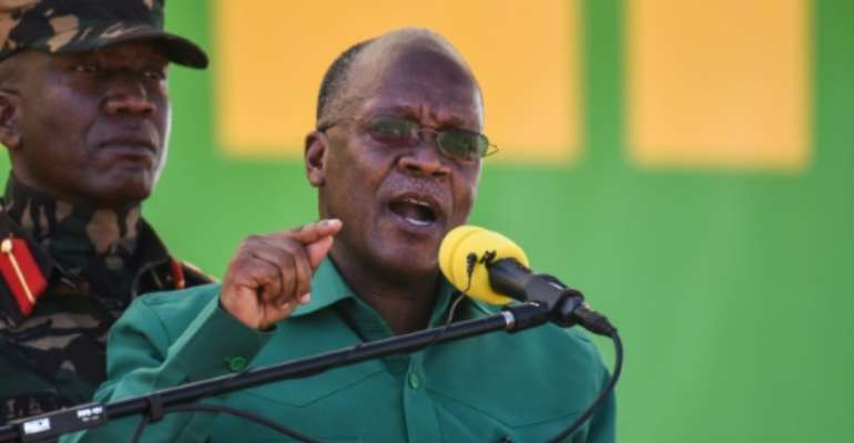 Magufuli, pictured in August at the start of his electoral campaign, has been accused of steering Tanzania towards autocracy.  By ERICKY BONIPHACE (AFP/File)