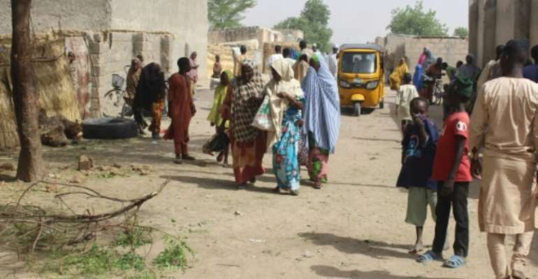 Maiduguri residents (pictured April 7, 2019, after a double suicide attack) were evacuated