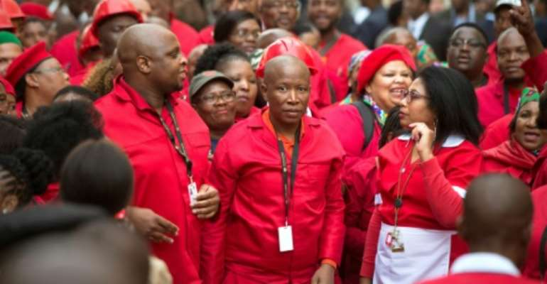 Malema, pictured last month as he arrived for the opening of the South African parliament.  By RODGER BOSCH (AFP)
