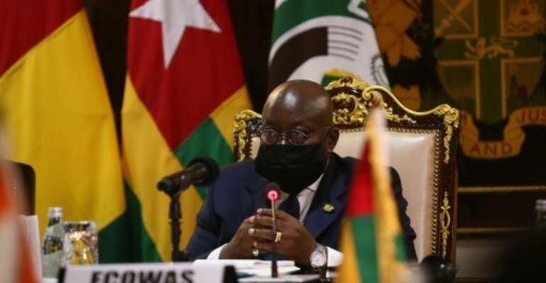 Mali crisis: Ghanaian President Nana Akufo-Addo, speaking at Tuesday's summit.  By Nipah Dennis (AFP)