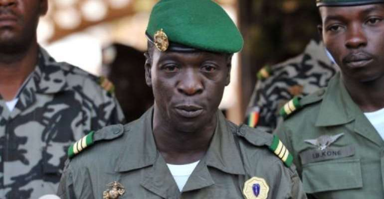 A picture taken on April 3 shows Malian military junta leader captain Amadou Sanogo speaking at Kati military camp.  By Issouf Sanogo (AFP/File)