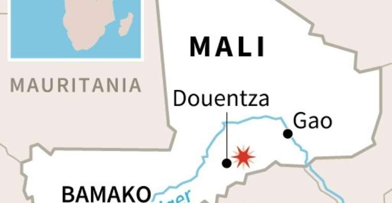 Mali map showing site of the blast.  By  (AFP)
