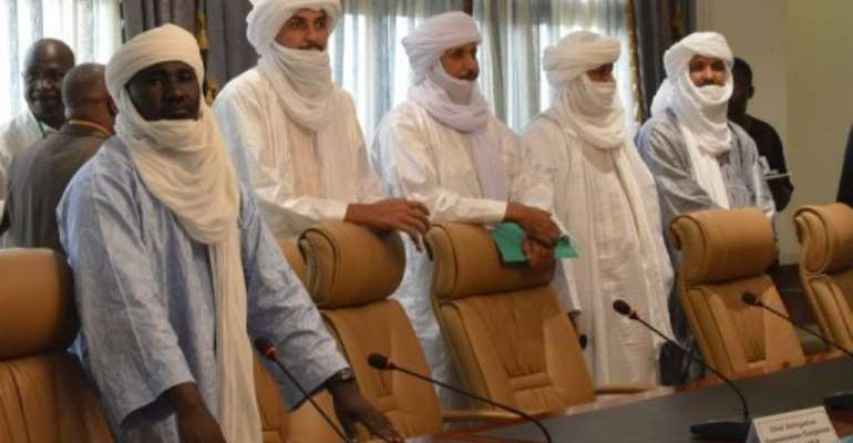 Tuareg delegates arrive to meet a Mali government delegation in Ougadougou, Burkina Faso, on June 10, 2013.  By Ahmed Ouoba (AFP/File)