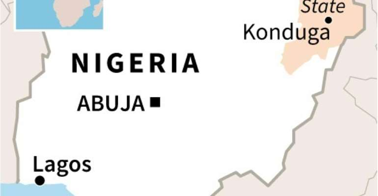 Map locating the state of Borno in Nigeria, where dozens of soldiers were killed when their convoy was attacked by jihadists.  By AFP (AFP)
