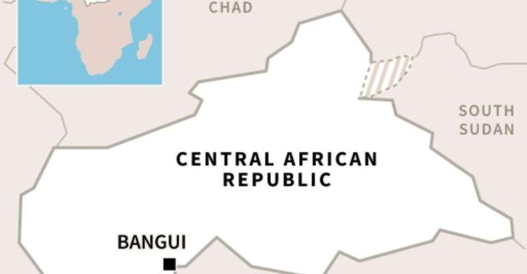 Map of Central African Republic, locating its capital Bangui..  By  (AFP)