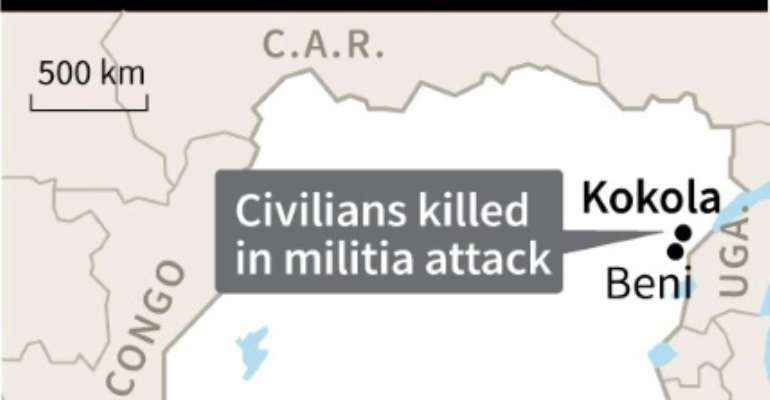 Map of DR Congo locating Kokola where ten civilians were killed in a militia attack, a local official said.  By  (AFP)