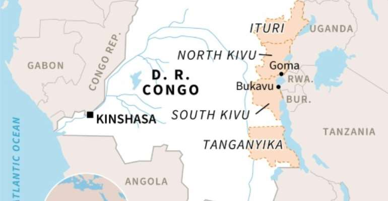 Map of DR Congo, locating the troubled provinces of North and South Kivu, Ituri and Tanganyika.  By Gillian HANDYSIDE (AFP)