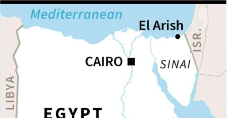 Map of Egypt locating El-Arish, near where seven police officers have been killed in a jihadist attack.  By  (AFP/File)