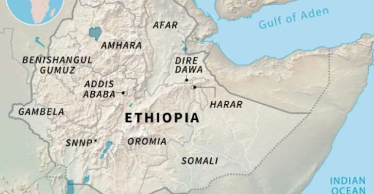 Map of Ethiopia's regions and administrative states.  By Simon MALFATTO (AFP)