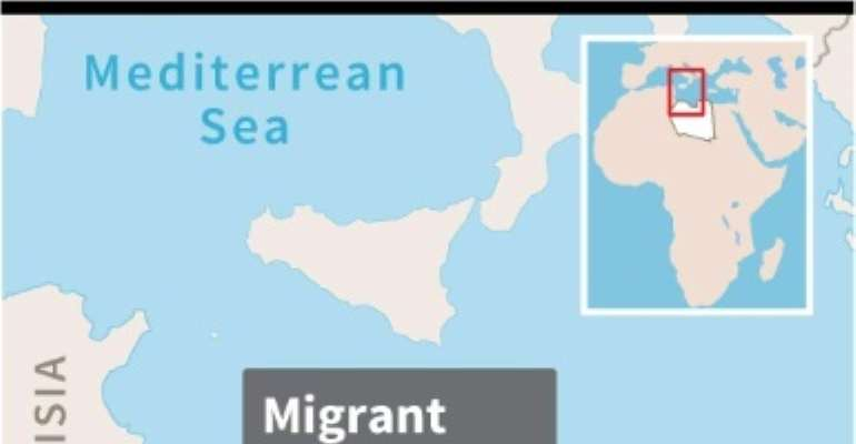 Map of Libya locating shipwreck where a number of migrants drowned.  By Paz PIZARRO (AFP)