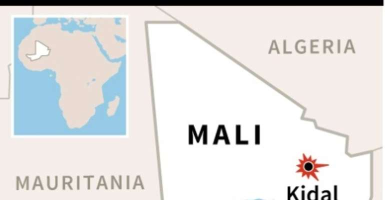 Map of Mali locating Kidal, where one UN peacekeeper was killed and another wounded after a bomb hit their vehicle.  By AFP (AFP/File)