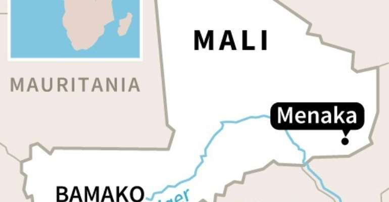 Map of Mali locating the region of Menaka where the death toll from an attack by armed militants rose from 12 to 27 people.  By AFP (AFP/File)