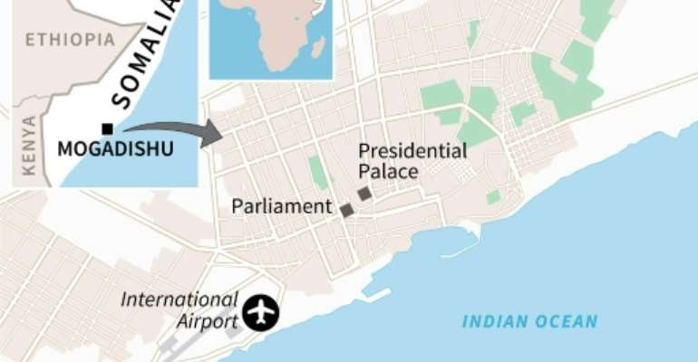 Map of Somalia's capital Mogadishu locating the parliament, near where a large explosion occurred Wednesday..  By  (AFP)