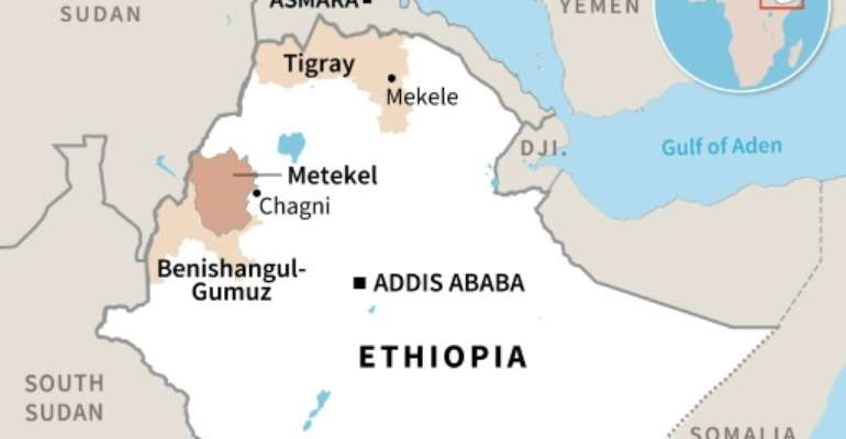 Map showing the Tigray and Benishangul-Gumuz regions of Ethiopia.  By Aude GENET (AFP)