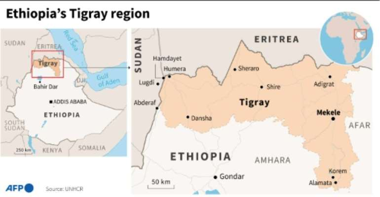 Map showing the Tigray region of Ethiopia.  By  (AFP)