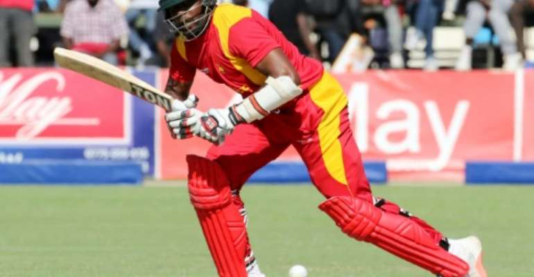 Zimbabwe batsman Hamilton Masakadza, pictured on August 2, 2015, hit 83 runs against Afghanistan in an ODI.  By Jekesai Njikizana (AFP/File)
